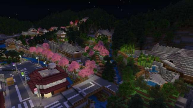 Minecraftゲーム内ストアに山に囲まれた温泉集落のあるワールド『温泉の里』を出品開始