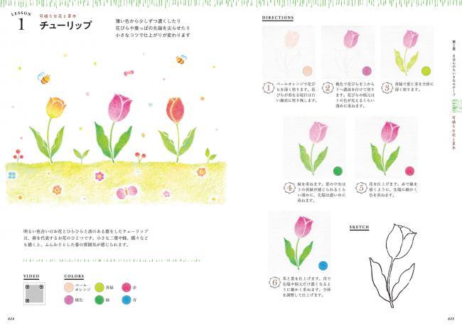 12色の色鉛筆で描く ちいさなイラスト手習い帖 動画付き